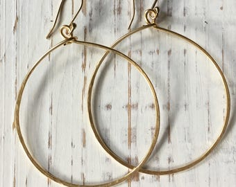 Large gold wire Hoops