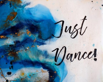Just Dance, original encaustic painting, wall art on cradled panel