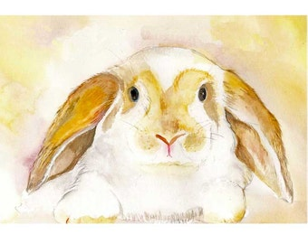 Rabbit Painting, bunny print, Watercolor painting, giclee print, animal art