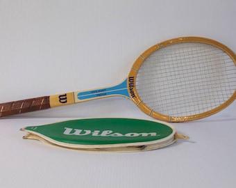 Vintage 1970s Wooden Wilson Tennis Racket - Chris Evert Prestige Raquet with case