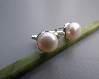 Pearl Cuff Links - Groomsmen Gift - Classic Genuine White Button Pearl Cuff links