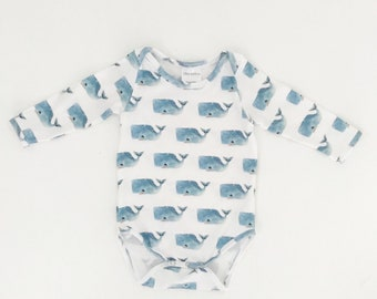 Baby Onesie, Baby Romper, Baby Playsuit, Happy Whales // CUSTOM MADE