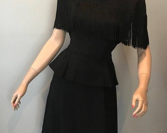 1940s black crepe fringed capelet, peplum dress-XS