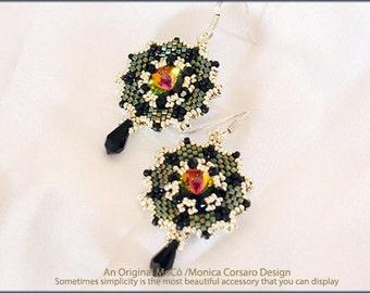 DIY Photo Tutorial Eng-ITA *Amaya*Earrings ,PDF Pattern 95 with Rivoli,swarovski,kheops,tri bead,delica,seed beads,instructions,beadweaving