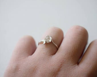 Unique Engagement Ring Vintage Inspired Raw Diamond Ring Rough Natural Diamond Ring Sterling Silver Engagement Ring Size 8 Avello