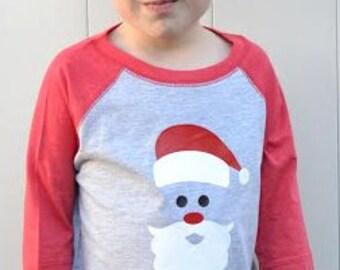 Toddler Boy/Girl Christmas Santa Shirt Raglan - Santa Raglan tshirt - Baby Boy/Girl Raglan Bodysuit Santa - Christmas t shirt Toddler Tee