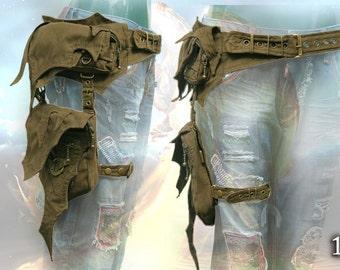 Phoenix Belt - cyber tribal pocket hip bag with leg strap