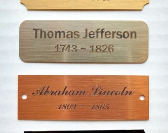 "3""x 1"" Personalized Brass Custom Engraved Metal Plate ... Quick Turn Around."