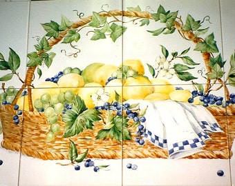 Lemons In a Basket/Handpainted Tile Mural