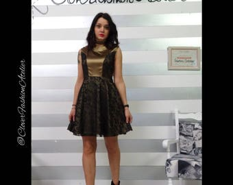 DISCOUNTED:  gold and black lace minidress, with brillant applications on the shoulders. short dress. elegant.