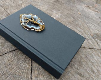 Explorer's Journal - Small Sketchbook with Wire Wrapped Agate