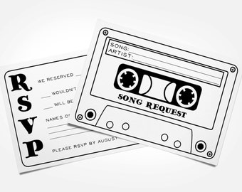 Cassette Tape Song Request Wedding RSVP Card - Printable / Digital file