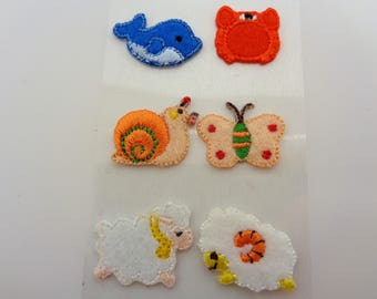 6 stickers Stickers woven animals: whale, crab, snail, butterfly, sheep and RAM - ref 8A