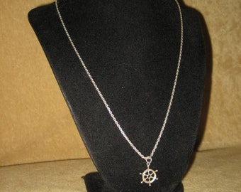 Sterling Rope Necklace with Ships Wheel Pendant