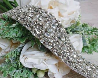 "The ""Sera"" Bridal Sash; Crystal Belt Sash; Rhinestone Bridal Sash; Crystal and Pearl Sash; Unique Wedding Dress Sash; Jeweled Sash"