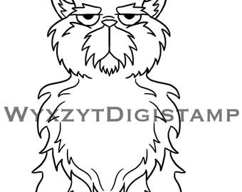 Fluffy grumpy cat digistamp instant download coloring art