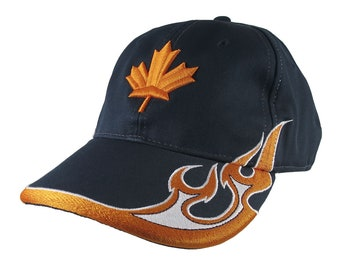 Canadian Maple Leaf 3D Puff Orange Embroidery on an Adjustable Navy Blue Soft Structured Racing Flames Baseball Cap + Options to Personalize