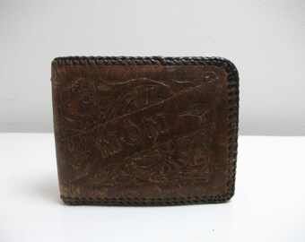 "Tooled 70's Leather ""Mom"" Wallet with Desert Floral Motif"