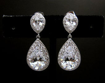 bridal earrings wedding jewelry bridesmaid prom pageant christmas gift AAA Clear white teardrop cubic zirconia teardrop cz rhodium post