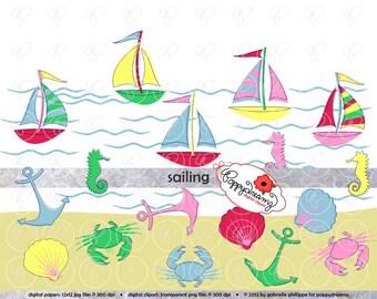 Sailing Nautical Clipart Set: (300 dpi transparent png) Digital Sailboat Anchor Sea Crab Seashell Seahorse