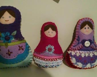 set of three handmade felt russian type dolls