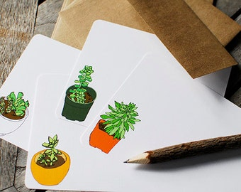 Succulent Flat Note Cards- Set of 8