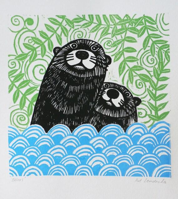 Otters, Original Linocut Print, Signed Open Edition, Free Postage in UK, Block Print, Printmaking,