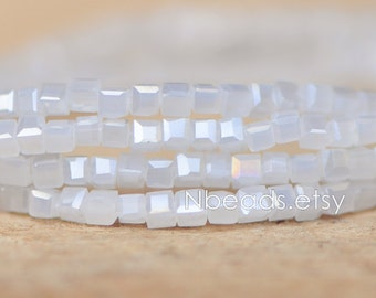 200 beads- Faceted Glass Cube, 2mm Tiny Faceted Crystal Spacer beads, White AB- (#FZ02-11)