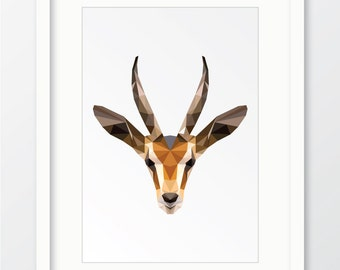 Gazelle, Geometric gazelle, Geometric gazelle print, Gazelle digital download, Geometric animal, Gazelle print, Gazelle wall art