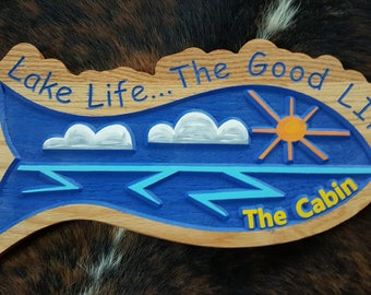 Something is fishy here... A Colorful and Fun Personalized Lake, Beach, or Island House Sign