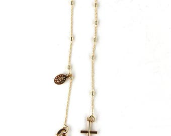 18k Yellow Gold Rosary Bracelet with cross and miraculous medal 7 inch