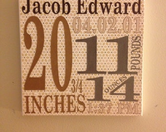 Personalized Baby Canvas wall art 10x10