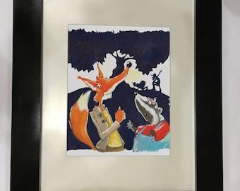 Watercolor of popular novel Fantastic Mr. Fox by Roald Dahl