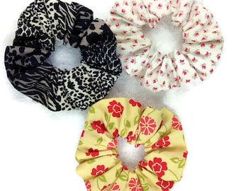 Women hair scrunchy, animal floral scrunchies set, elastic cotton ponytail holder, adult scrunchies, girl hair scrunchies, party favor gifts