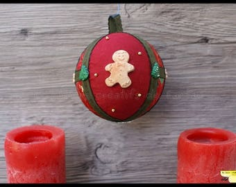 """fabric patchwork and polymer clay Christmas ornament """"p"""" little man """""""