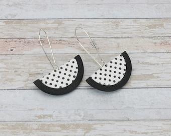 White polka dot earrings, Stocking stuffer for women,Black and white earrings, Polka dot, Gift for her, Business jewelry, 80's earrings