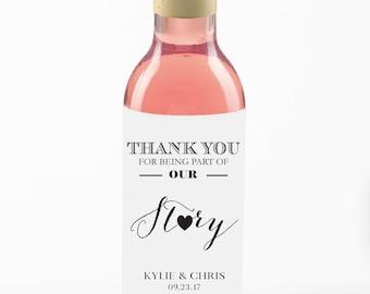 Mini Wine Bottle Labels//Wedding Wine Label//Thank You//Favor