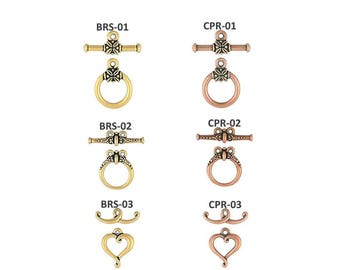 Toggle Clasps Brass or Copper Finish 1 or 2 Pieces Diameter 14 - 17mm Toggle Bar 20 - 25mm USA Made
