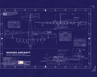 "HUGHES' H-4 SPRUCE GOOSE Blueprint/ Plan - Large - Developed on 42""x 30"" uncut master sheet"