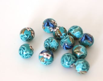 Turquoise Polymer Clay Beads, Blue Green Round Beads Sea Garden Dozen 12 pieces -  Made to Order
