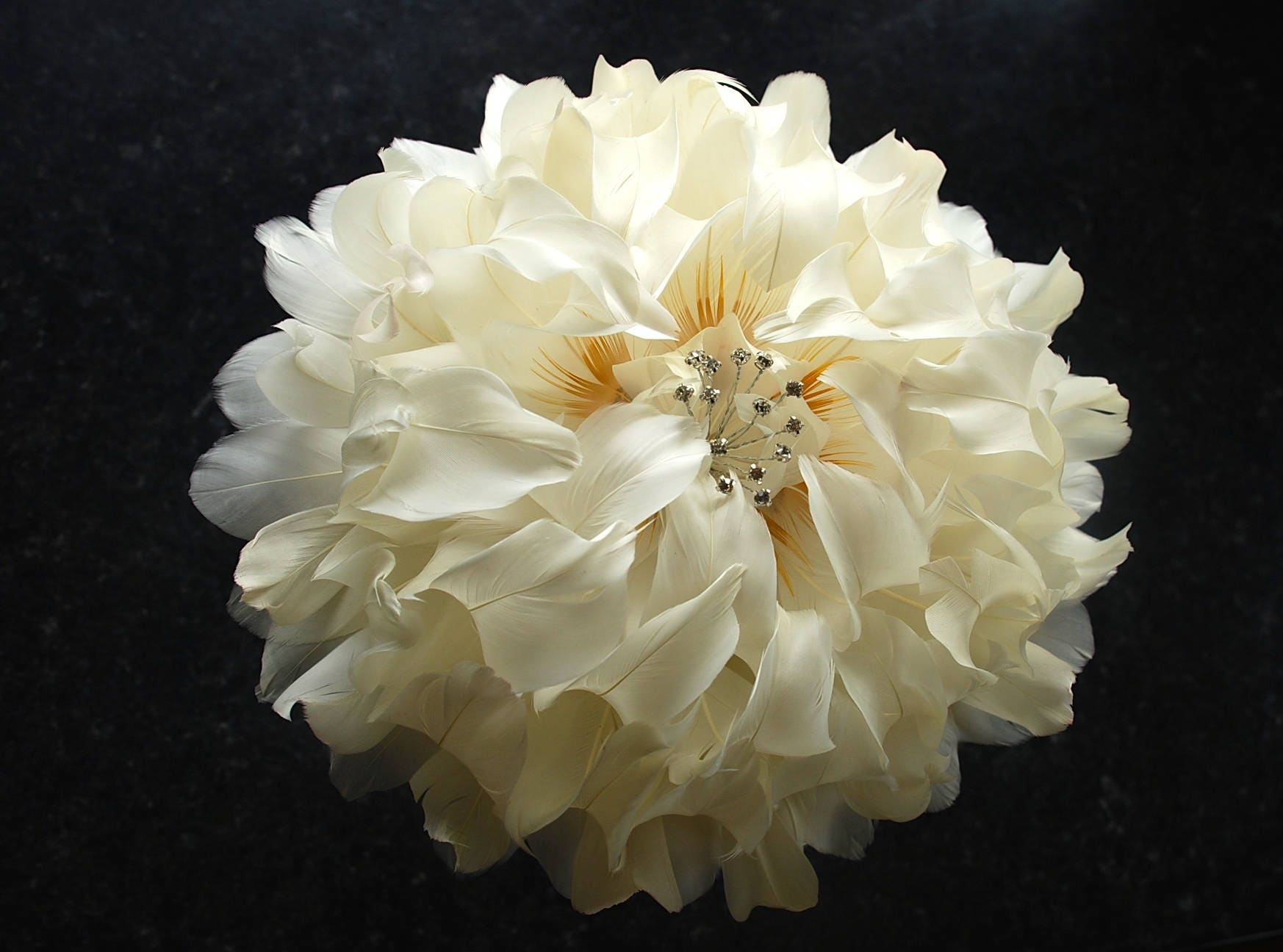 Giant peony wedding bouquet ivory feather flower bridal bouquet giant peony wedding bouquet ivory feather flower bridal bouquet brides bouquet feather flower wedding flowers diamonte izmirmasajfo