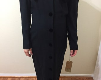 1970s kathryn conover New York by night  womans black coat, size 12
