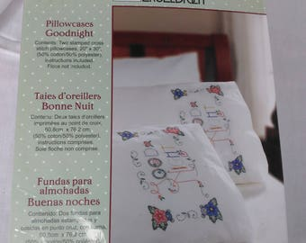 """Bucilla Stamped Cross Sitich Pillow Cases/""""Good Night""""/New With Instructions And Floss Chart (M)"""