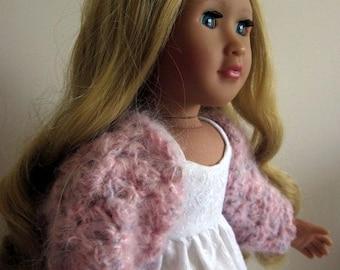 18in doll clothes, fluffy pink bolero cardigan, hand-crochet sweater