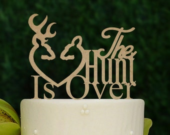 Rustic Wedding Cake Topper, Hunt Is Over Cake Topper, The Hunt Is Over, Wooden Wedding Cake Topper A195