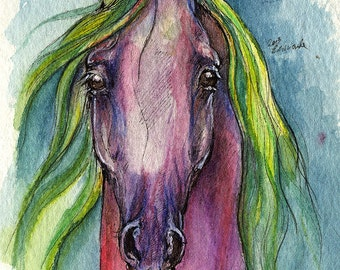 Violet horse, equine art, equestrian portrait,  ink and watercolor painting original artwork