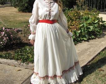 Vintage Victor Costa Dress | Cross-Stitch Trim | White Chiffon | Maxi | Boho Dress | I. Magnin | Medium/Large | 1970s