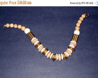 Memorial Day Sale Vintage Gold White and Beige Chunky Earthtones Choker Necklace 17 Inches