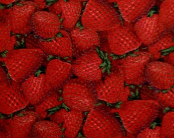 One Half Yard of Fabric Material - Packed Strawberries