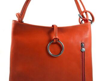 Leather ladies handbag shoulder bag luxury bag women handbag coffee brown red made in Italy red orange women handbag orange
